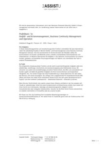 Stellenausschreibung Praktikum Notfall und Krisenmanagement